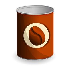 Coffee bean tin can icon cartoon style vector