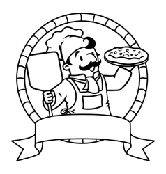 Coloring book emblem with funny cook or chef vector