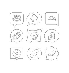 Croissant cake and bread icons muffin vector