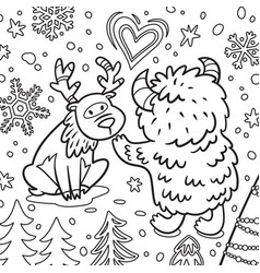 cute bigfoot or yeti with deer in forest vector image