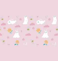 Cute bunny seamless pattern design vector