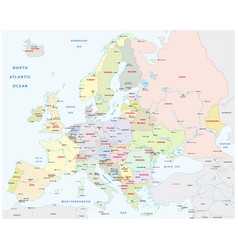 detailed colored europe map with all important vector image