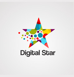digital star logo icon element and template vector image