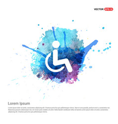 Disabled person icon - watercolor background vector