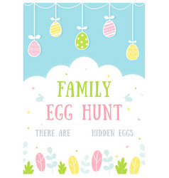 easter egg hunt activity poster or invitation card vector image
