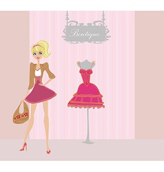 Elegant shopping woman vector image