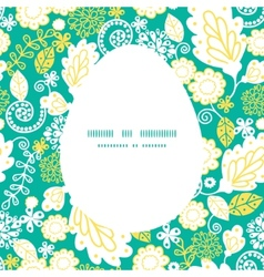 Emerald flowerals Easter egg sillhouette vector