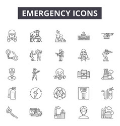 emergency line icons signs set outline vector image