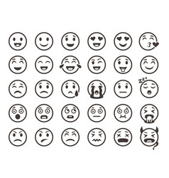 emoticons outline emoji faces emoticon funny vector image