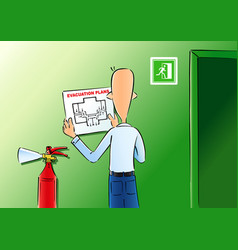 evacuation plans and fire extinguisher vector image