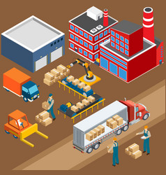 Factory warehouse industrial composition vector