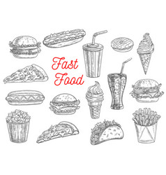 fast food burgers sandwiches and snacks sketch vector image