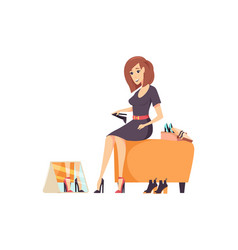 Female shopaholic wearing shoes in store vector