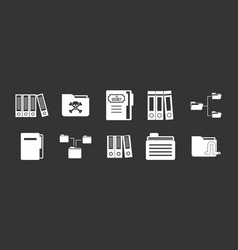folder icon set grey vector image