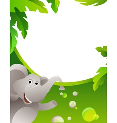 Frame with elephant vector image vector image