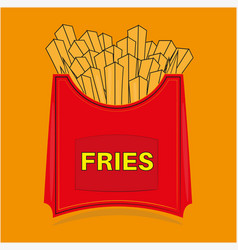 french fries potato chips in red carton package vector image