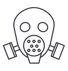 gas mask respirator line icon sig vector image