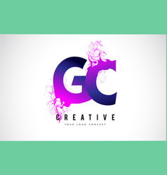 Gc g c purple letter logo design with liquid vector