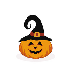 Halloween pumpkin in hat vector