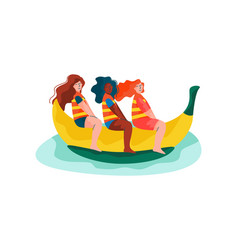 happy girls riding on banana boat women relaxing vector image