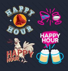 happy hour call sign logo related vector image