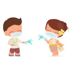 Happy young couple wear face mask enjoy songkran vector