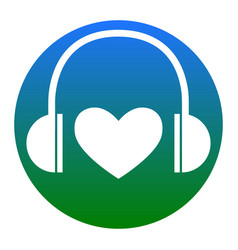 Headphones with heart white icon in vector