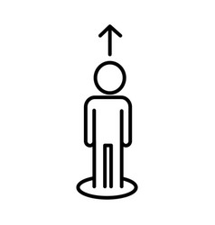 Human figure avatar with arrow up line style icon vector