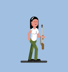 Hunter girl with a gun vector