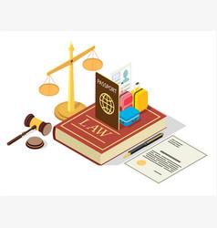 immigration regulation law flat isometric vector image