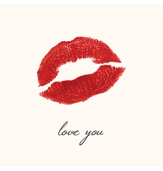 Imprint of lips on a white background a kiss red vector image