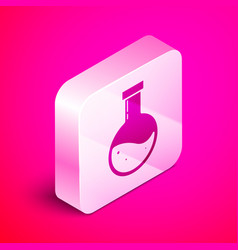 Isometric bottle with potion icon isolated on pink vector