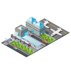 isometric public transport template vector image