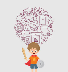 Kid playing warrior with education icon vector