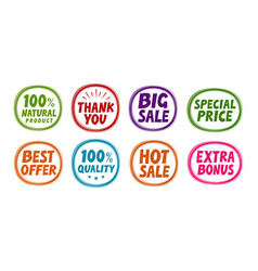 label set such as big sale best offer quality vector image