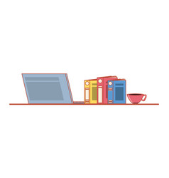 laptop computer with books and cup coffee vector image