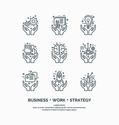linear icons of business analytics and statistics vector image