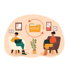 Male and female characters sitting in a cozy room vector