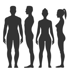 Man and woman black silhouette vector
