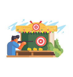 man in shooting gallery vector image