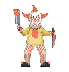Maniac clown killer psychopath blood knife axe vector