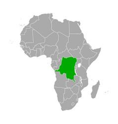 map democratic republic congo in africa vector image