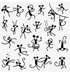 monkeys doodles set vector image