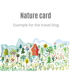 nature card with nice landscape graphic handdrawn vector image