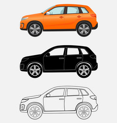 off-road luxury vehicle in three different styles vector image