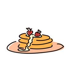 pancakes with jam breakfast simple sketch pen vector image