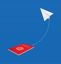 paper airplane with passport vector image