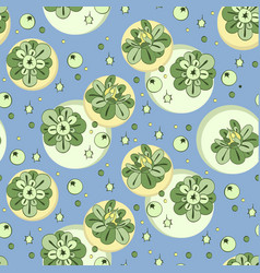 Pattern with green stylized flowers and vector