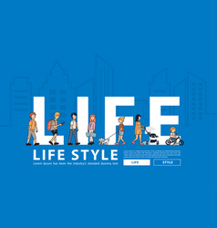 people life style walking with flat big letters vector image
