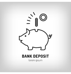 Piggy bank deposit logo Line icon art flat vector